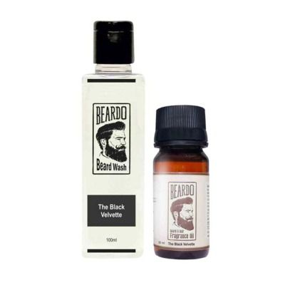 Buy Beardo The Black Velvette Beard Oil & Beard Wash Combo
