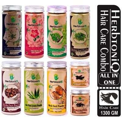 Buy HerbtoniQ Combo of 9 100% Natural Hair & Scalp Care (Jatamansi, Hibiscus, Bhringraj, Brahmi, Soapnut, Aloevera, Fenugreek, Shikakai, Amla Powder)