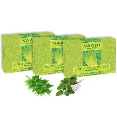 Vaadi Herbals Alluring Neem -Tulsi Soap with Vitamin E and Tea Tree Oil