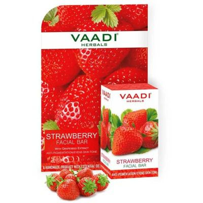 Vaadi Herbals Strawberry Facial Bar with Grapeseed Extract