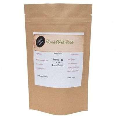 Buy Woods and Petals Darjeeling Green Tea With Rose Petals