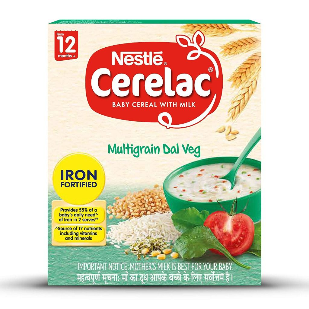 Nestle CERELAC Fortified Baby Cereal with Milk, Multigrain Dal Veg - From 12 Months